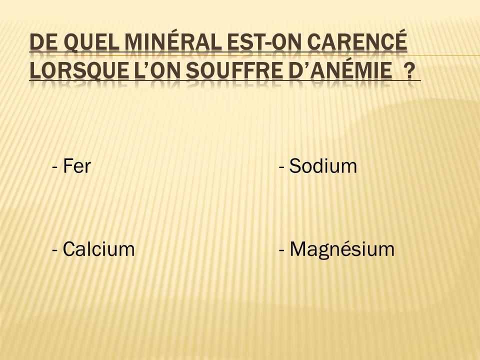 - Fer - Calcium - Sodium - Magnésium