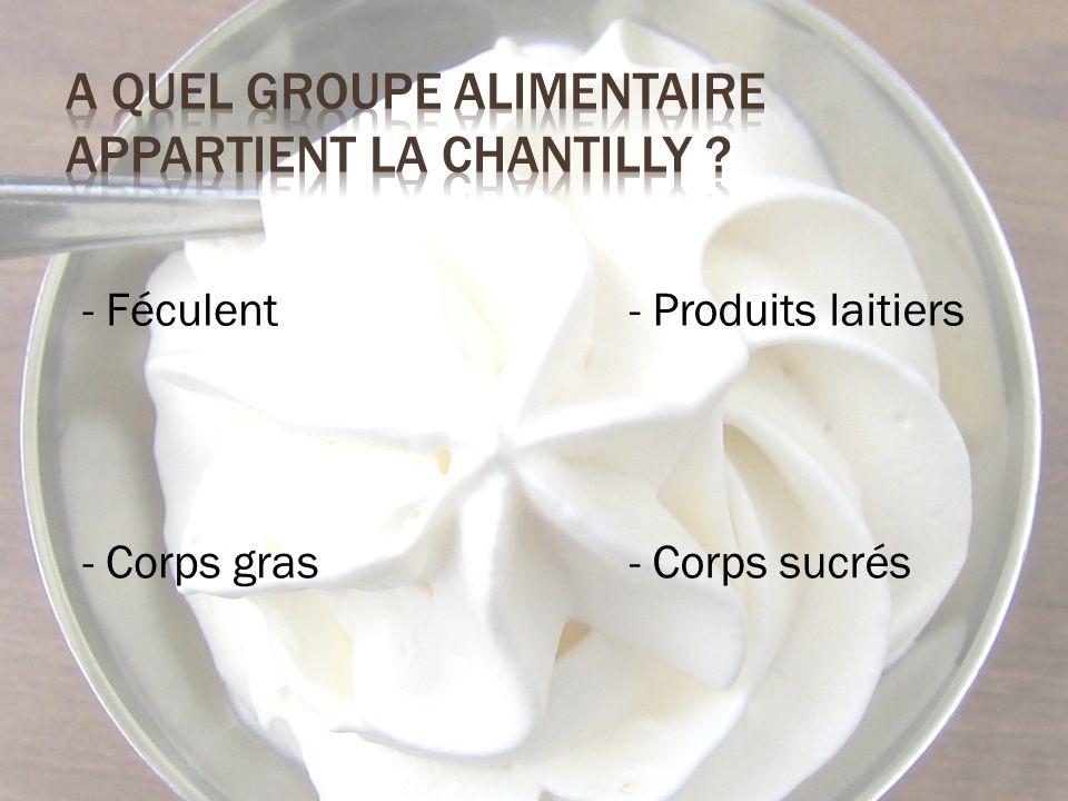 - Féculent - Corps sucrés - Produits laitiers - Corps gras