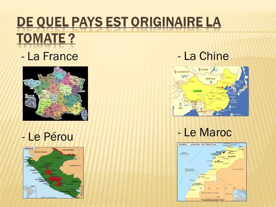 - La France - Le Pérou - La Chine - Le Maroc