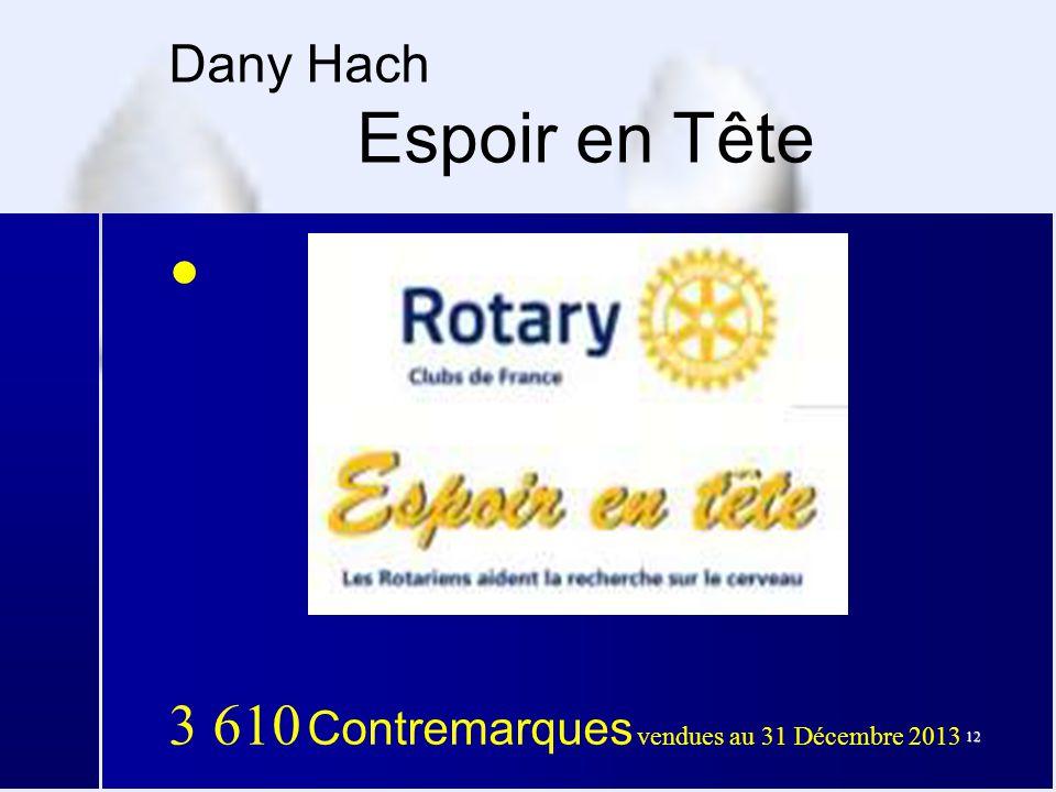 12 Dany Hach Espoir en Tête ● 3 610 Contremarques vendues au 31 Décembre 2013