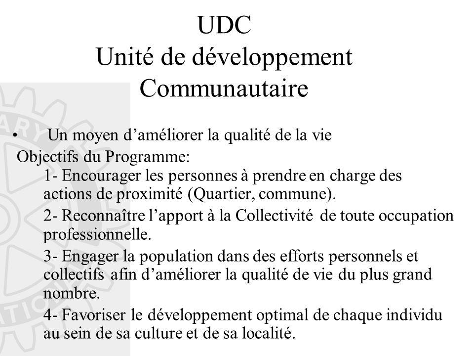 UDC Unité de développement Communautaire Un moyen d'améliorer la qualité de la vie Objectifs du Programme: 1- Encourager les personnes à prendre en charge des actions de proximité (Quartier, commune).