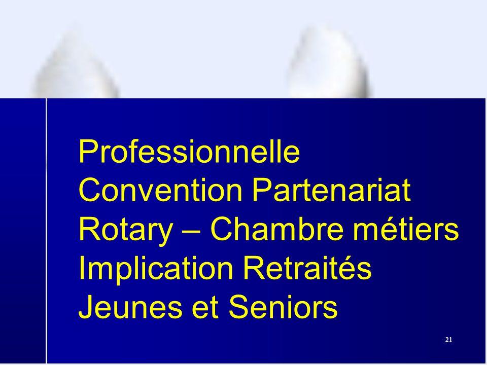 21 Professionnelle Convention Partenariat Rotary – Chambre métiers Implication Retraités Jeunes et Seniors