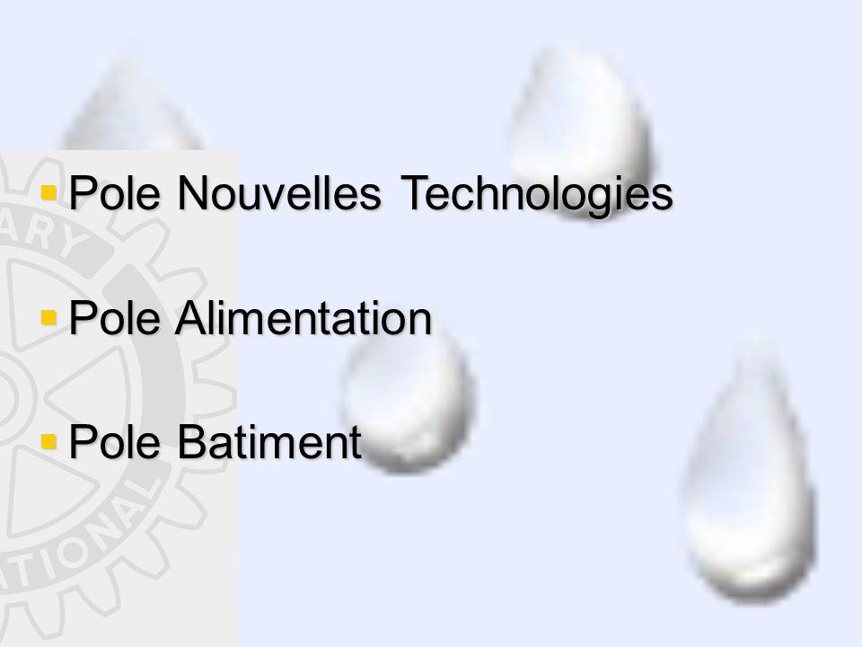  Pole Nouvelles Technologies  Pole Alimentation  Pole Batiment