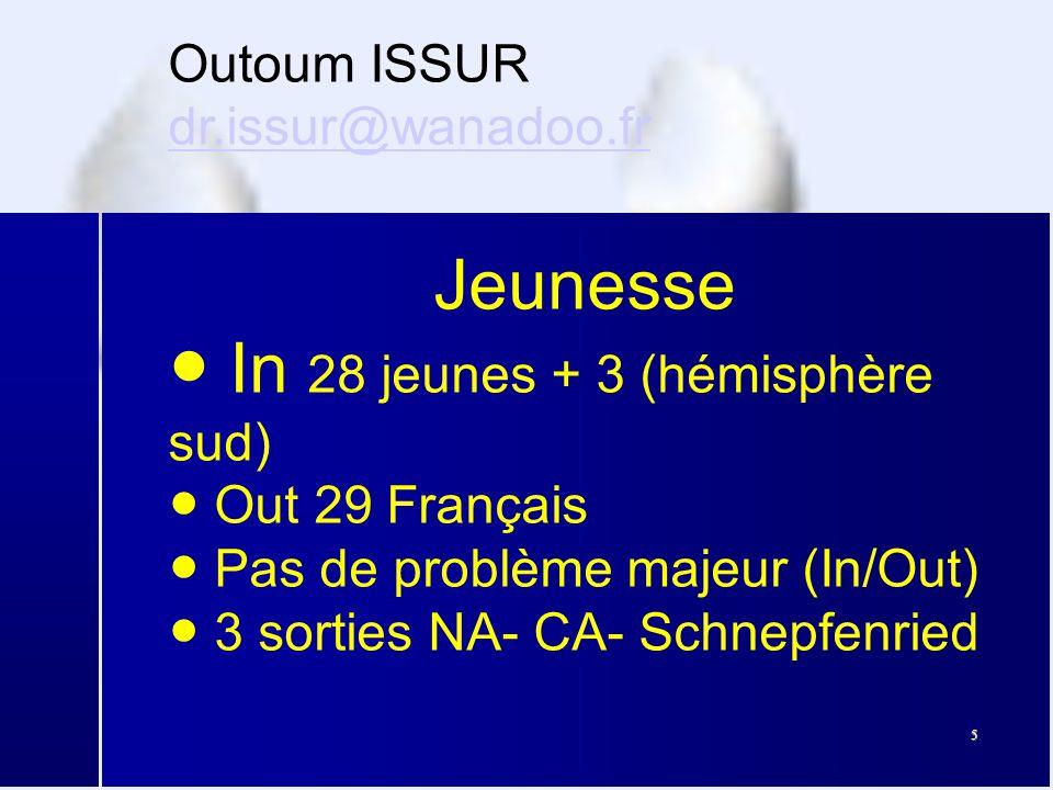 5 Outoum ISSUR dr.issur@wanadoo.fr dr.issur@wanadoo.fr Jeunesse ● In 28 jeunes + 3 (hémisphère sud) ● Out 29 Français ● Pas de problème majeur (In/Out) ● 3 sorties NA- CA- Schnepfenried