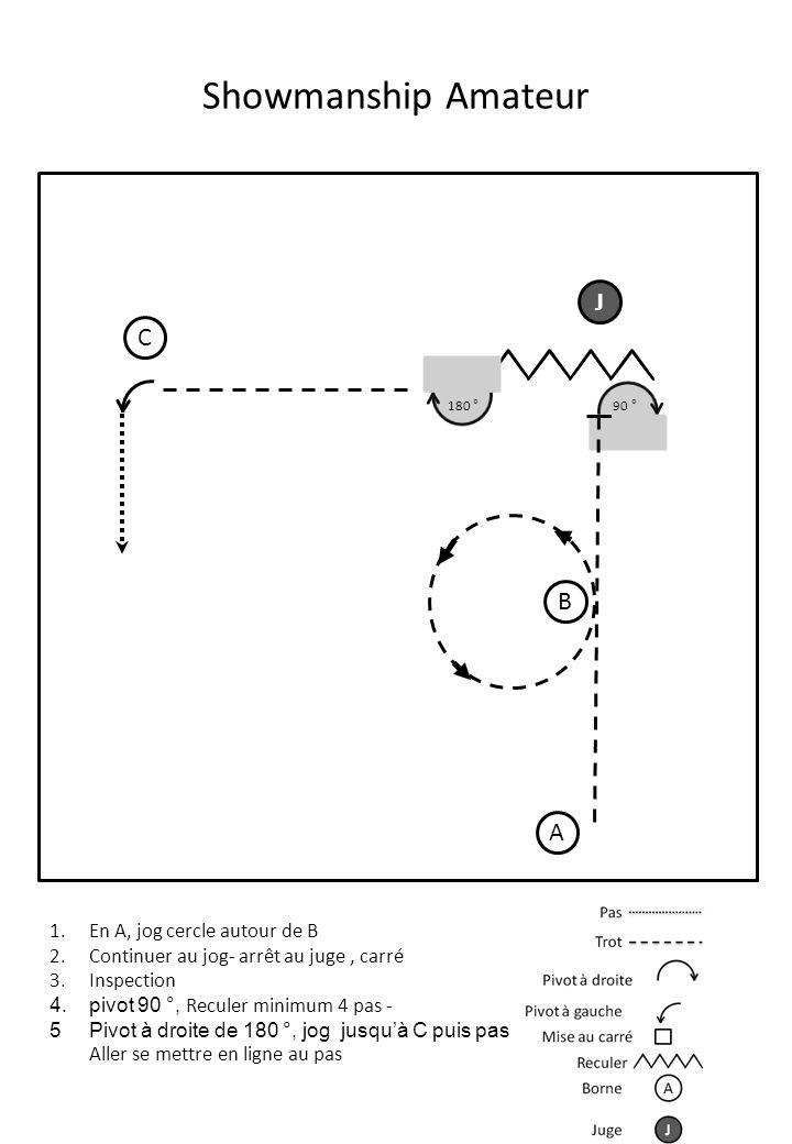 Showmanship 5 – 10 ans A J 1.En A, au pas jusqu'au juge 2.Mettre au carré, présenter au juge 3.Pivot à droite vers B 4.Pas et jog et pas avant B 5.arrêt à B et reculer d'une foulée minimum B