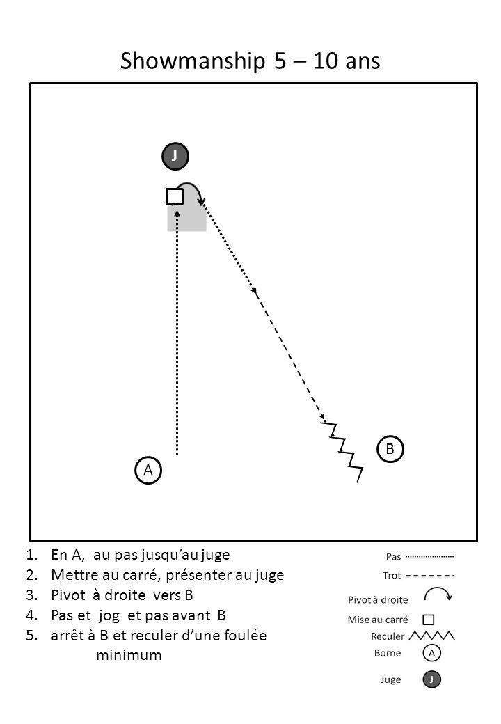 Showmanship 5 – 10 ans A J 1.En A, au pas jusqu'au juge 2.Mettre au carré, présenter au juge 3.Pivot à droite vers B 4.Pas et jog et pas avant B 5.arr