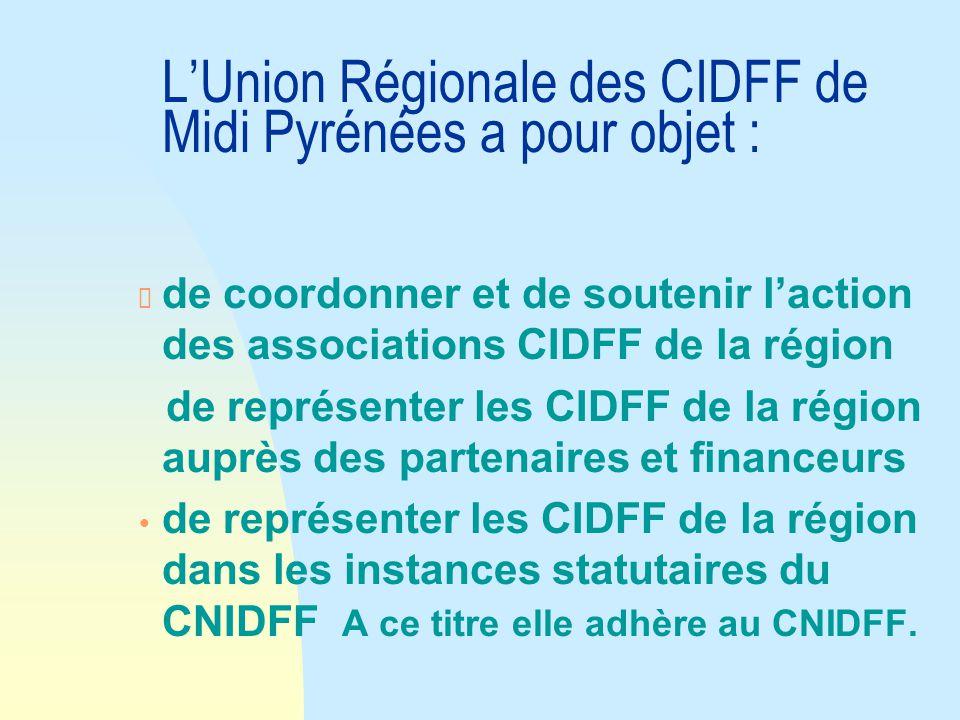 L'Union Régionale des CIDFF de Midi Pyrénées a pour objet : de coordonner et de soutenir l'action des associations CIDFF de la région de représenter les CIDFF de la région auprès des partenaires et financeurs Ÿ de représenter les CIDFF de la région dans les instances statutaires du CNIDFF A ce titre elle adhère au CNIDFF.