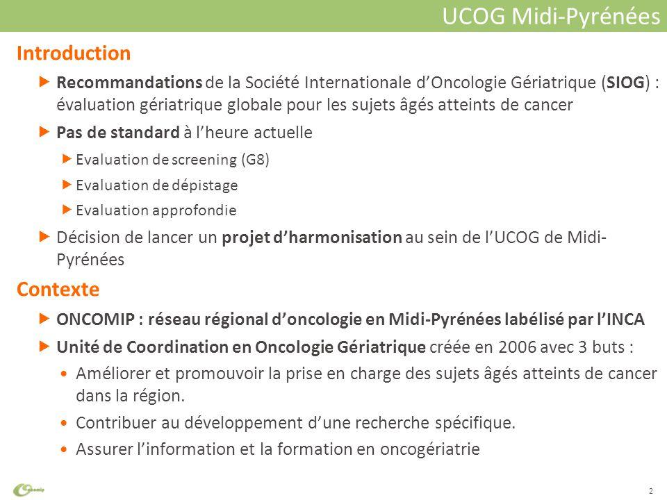 Cliquez pour modifier le style du titre Introduction  Recommandations de la Société Internationale d'Oncologie Gériatrique (SIOG) : évaluation gériatrique globale pour les sujets âgés atteints de cancer  Pas de standard à l'heure actuelle  Evaluation de screening (G8)  Evaluation de dépistage  Evaluation approfondie  Décision de lancer un projet d'harmonisation au sein de l'UCOG de Midi- Pyrénées Contexte  ONCOMIP : réseau régional d'oncologie en Midi-Pyrénées labélisé par l'INCA  Unité de Coordination en Oncologie Gériatrique créée en 2006 avec 3 buts : Améliorer et promouvoir la prise en charge des sujets âgés atteints de cancer dans la région.