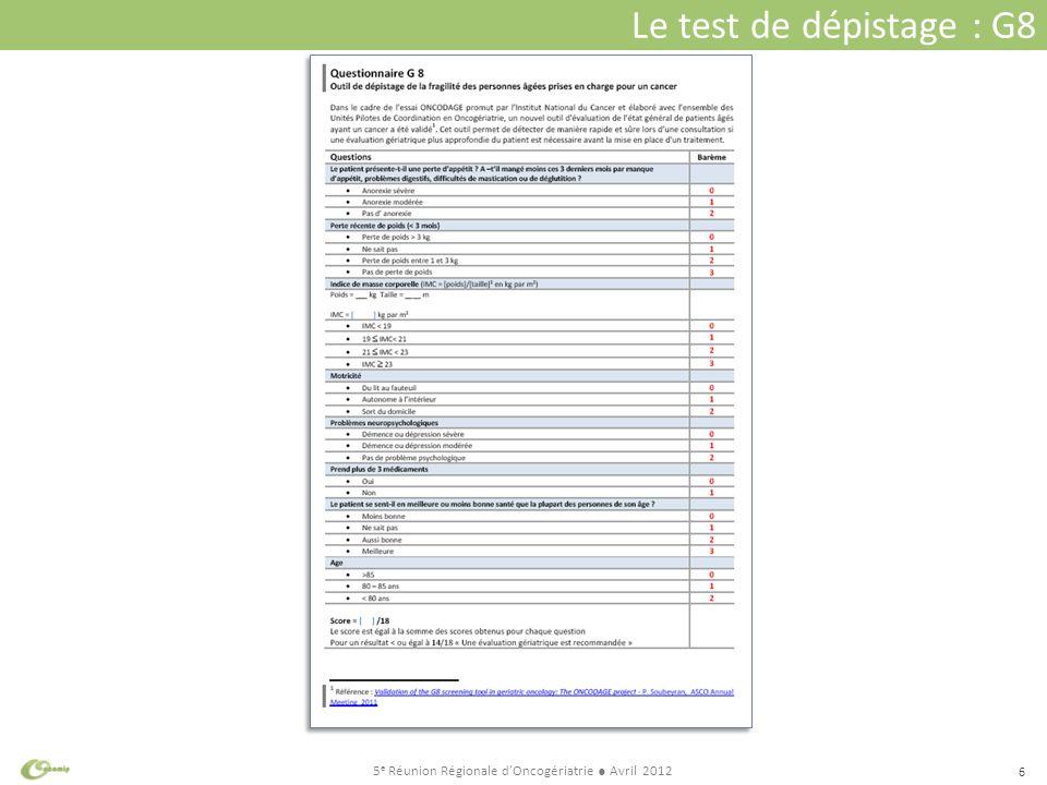 Cliquez pour modifier le style du titreLe test de dépistage : G8 5 e Réunion Régionale d'Oncogériatrie ● Avril 2012 6
