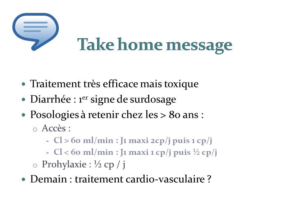 Traitement très efficace mais toxique Diarrhée : 1 er signe de surdosage Posologies à retenir chez les > 80 ans : o Accès : - Cl > 60 ml/min : J1 maxi