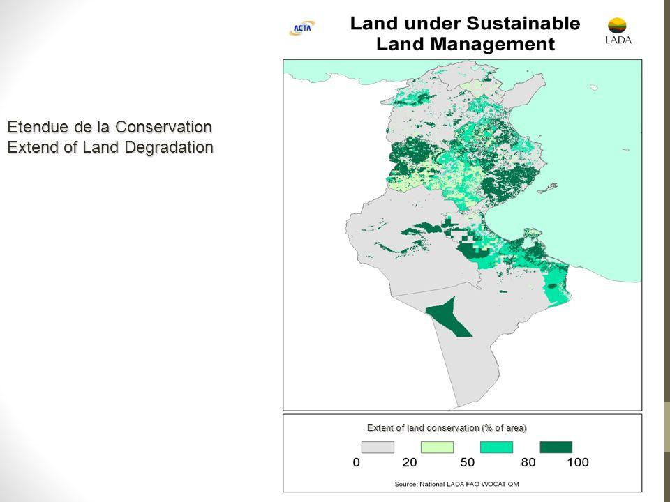 Extent of land conservation (% of area) Etendue de la Conservation Extend of Land Degradation