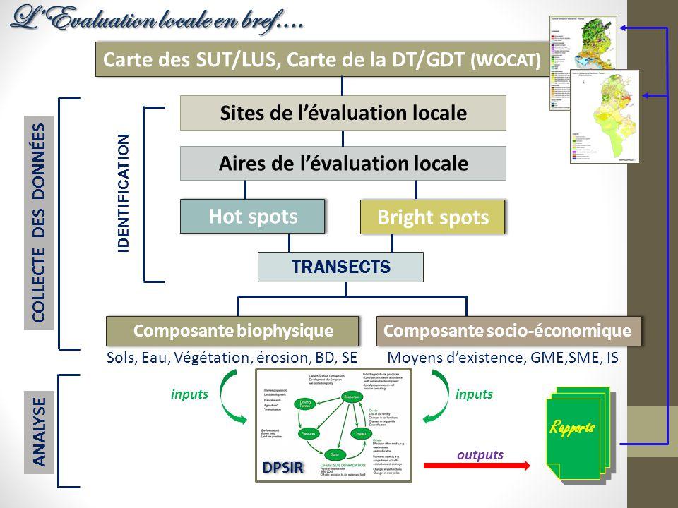 Carte des SUT/LUS, Carte de la DT/GDT (WOCAT) Aires de l'évaluation locale Sites de l'évaluation locale Hot spots Bright spots TRANSECTS Composante bi