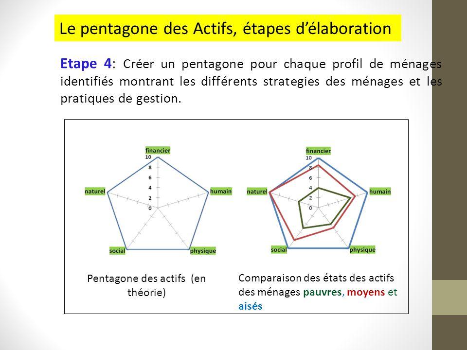 Etape 4: Créer un pentagone pour chaque profil de ménages identifiés montrant les différents strategies des ménages et les pratiques de gestion. Penta