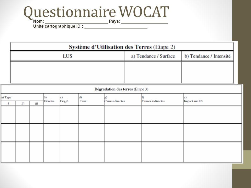 Questionnaire WOCAT Nom: ___________________________ Pays: ____________________ Unité cartographique ID : ___________________________
