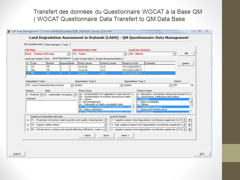 Transfert des données du Questionnaire WOCAT à la Base QM ( WOCAT Questionnaire Data Transfert to QM Data Base
