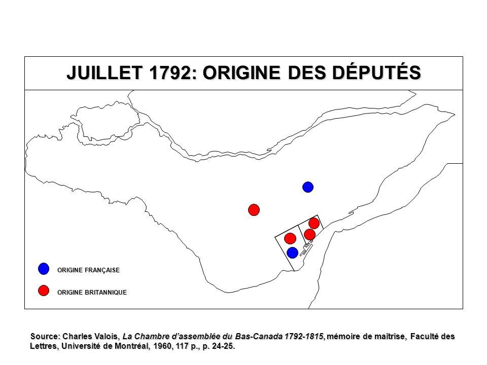 ONZIÈME PARLEMENT 1820-1824 Québec T.-R.