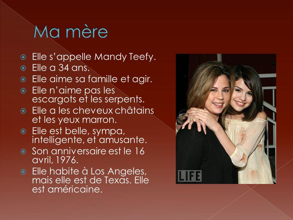  Elle s'appelle Mandy Teefy.  Elle a 34 ans.  Elle aime sa famille et agir.  Elle n'aime pas les escargots et les serpents.  Elle a les cheveux c