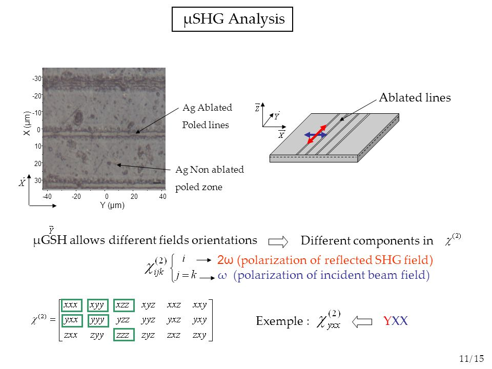 µSHG Analysis 40 -30 -20 -10 0 10 20 30 -40-20 20 0 Y (µm) X (µm) Ag Ablated Poled lines Ag Non ablated poled zone 2ω ( polarization of reflected SHG field ) ω (polarization of incident beam field) µGSH allows different fields orientations Different components in Exemple : YXX Ablated lines 11/ 15