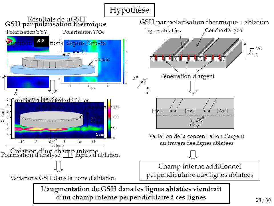 Hypothèse L'augmentation de GSH dans les lignes ablatées viendrait d'un champ interne perpendiculaire à ces lignes GSH par polarisation thermique + ab