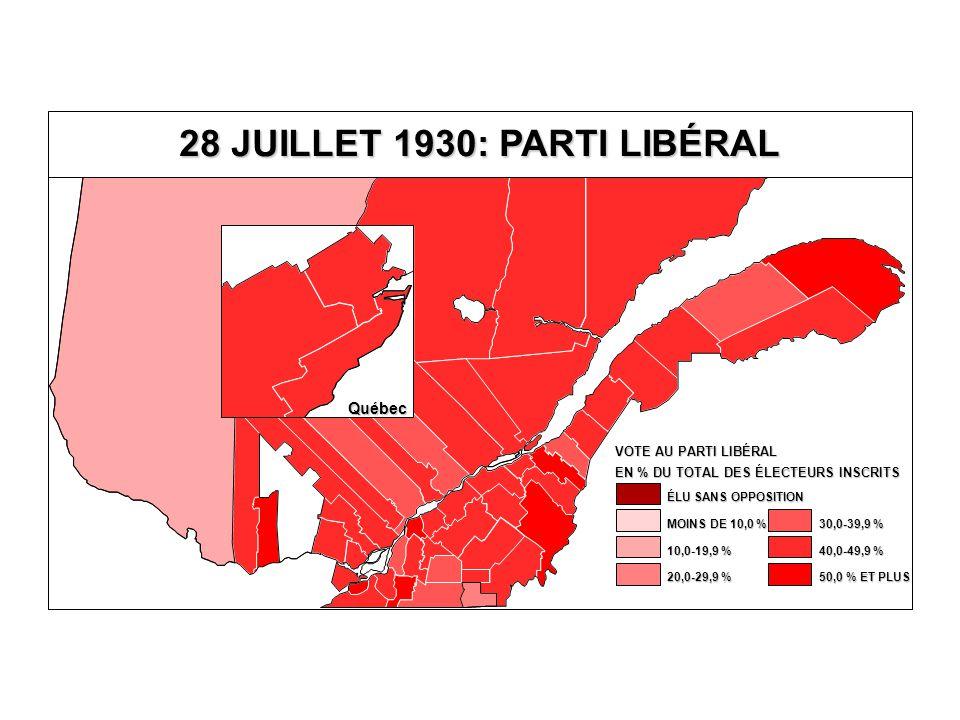 EN % DU TOTAL DES ÉLECTEURS INSCRITS VOTE AU PARTI LIBÉRAL 40,0-49,9 % 30,0-39,9 % 20,0-29,9 % 10,0-19,9 % MOINS DE 10,0 % ÉLU SANS OPPOSITION 50,0 % ET PLUS Québec 28 JUILLET 1930: PARTI LIBÉRAL