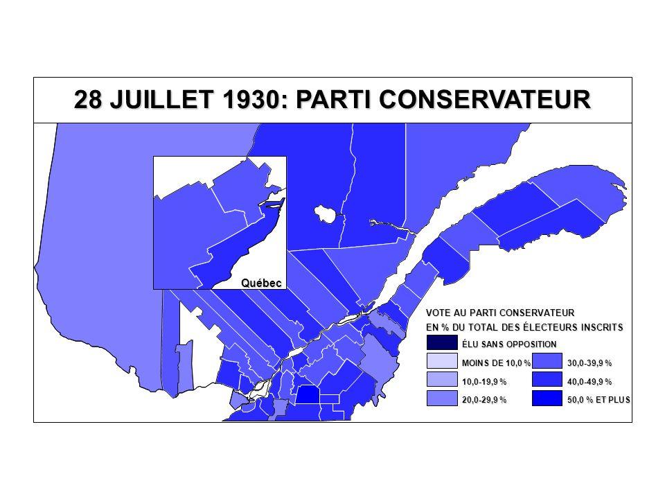 EN % DU TOTAL DES ÉLECTEURS INSCRITS VOTE AU PARTI CONSERVATEUR 40,0-49,9 % 30,0-39,9 % 20,0-29,9 % 10,0-19,9 % MOINS DE 10,0 % ÉLU SANS OPPOSITION 50,0 % ET PLUS Québec 28 JUILLET 1930: PARTI CONSERVATEUR