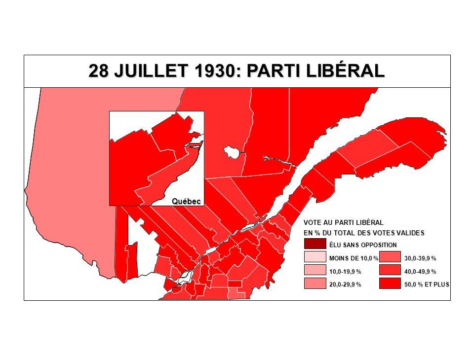 EN % DU TOTAL DES VOTES VALIDES VOTE AU PARTI LIBÉRAL 40,0-49,9 % 30,0-39,9 % 20,0-29,9 % 10,0-19,9 % MOINS DE 10,0 % ÉLU SANS OPPOSITION 50,0 % ET PLUS Québec 28 JUILLET 1930: PARTI LIBÉRAL