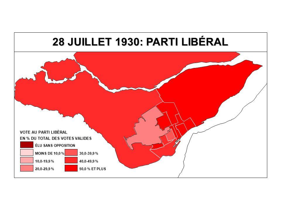 EN % DU TOTAL DES VOTES VALIDES VOTE AU PARTI LIBÉRAL 40,0-49,9 % 30,0-39,9 % 20,0-29,9 % 10,0-19,9 % MOINS DE 10,0 % ÉLU SANS OPPOSITION 50,0 % ET PL