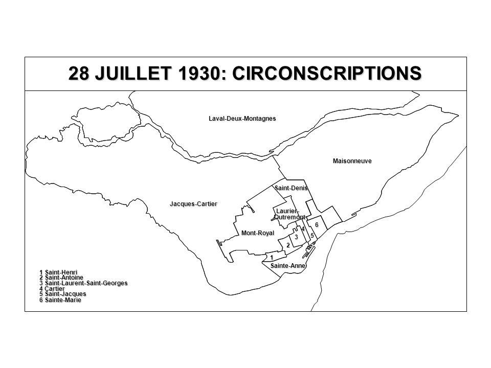 5 Saint-Jacques 6 Sainte-Marie 4 Cartier 3 Saint-Laurent-Saint-Georges 2 Saint-Antoine 1 Saint-Henri Jacques-Cartier Laval-Deux-Montagnes Maisonneuve