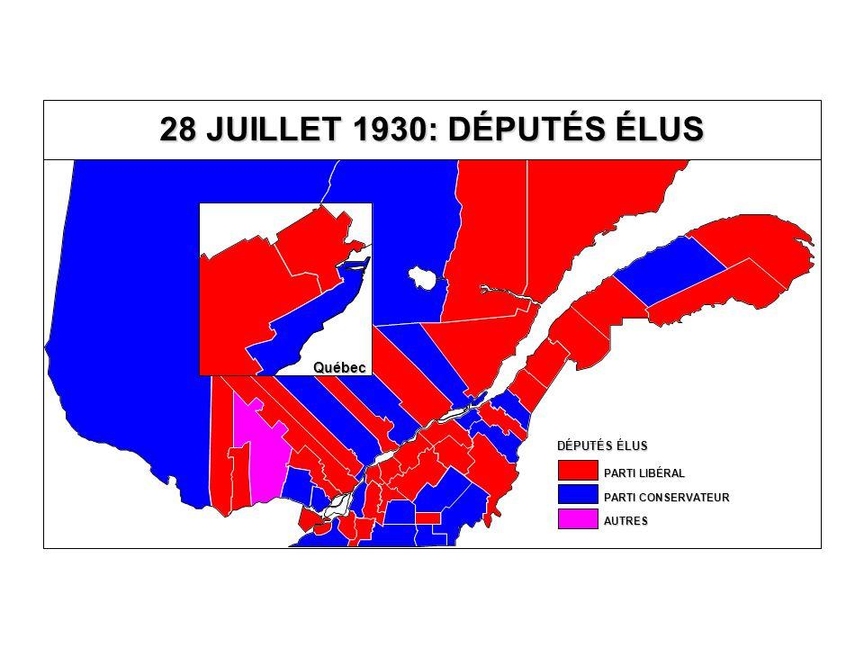DÉPUTÉS ÉLUS AUTRES PARTI CONSERVATEUR PARTI LIBÉRAL 28 JUILLET 1930: DÉPUTÉS ÉLUS Québec