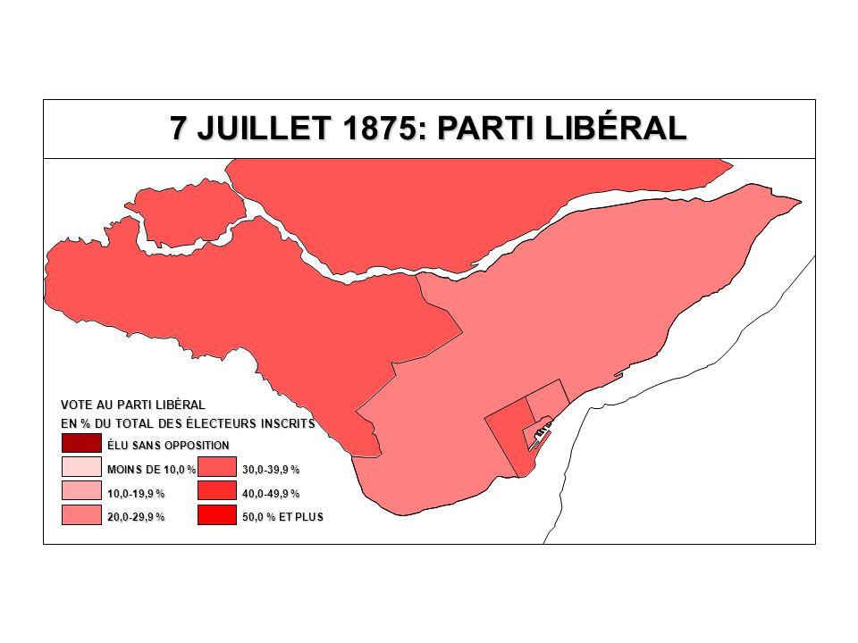 EN % DU TOTAL DES ÉLECTEURS INSCRITS VOTE AU PARTI LIBÉRAL 40,0-49,9 % 30,0-39,9 % 20,0-29,9 % 10,0-19,9 % MOINS DE 10,0 % ÉLU SANS OPPOSITION 50,0 % ET PLUS