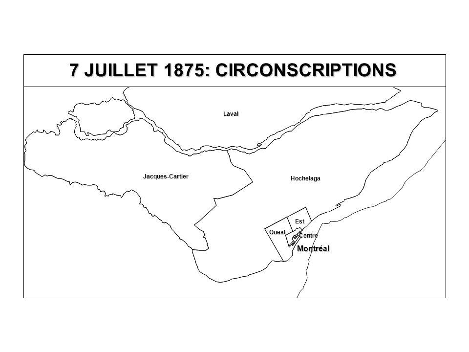 7 JUILLET 1875: CIRCONSCRIPTIONS Jacques-Cartier Laval Hochelaga Est Ouest Centre Montréal
