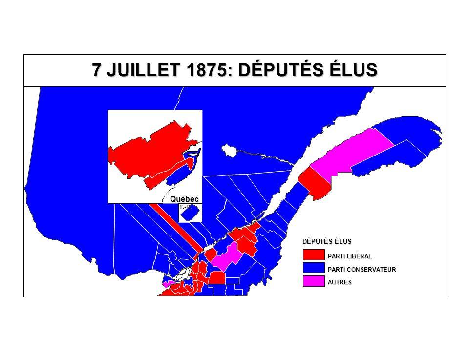 DÉPUTÉS ÉLUS AUTRES PARTI CONSERVATEUR PARTI LIBÉRAL Québec 7 JUILLET 1875: DÉPUTÉS ÉLUS T.-R.