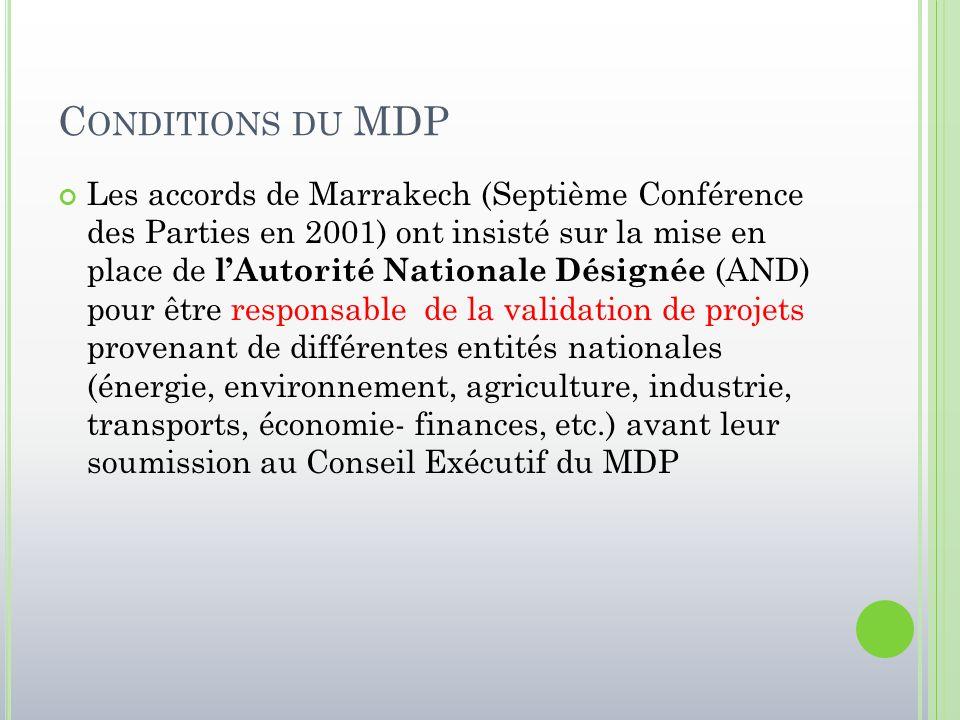 C ONDITIONS DU MDP Les accords de Marrakech (Septième Conférence des Parties en 2001) ont insisté sur la mise en place de l'Autorité Nationale Désigné