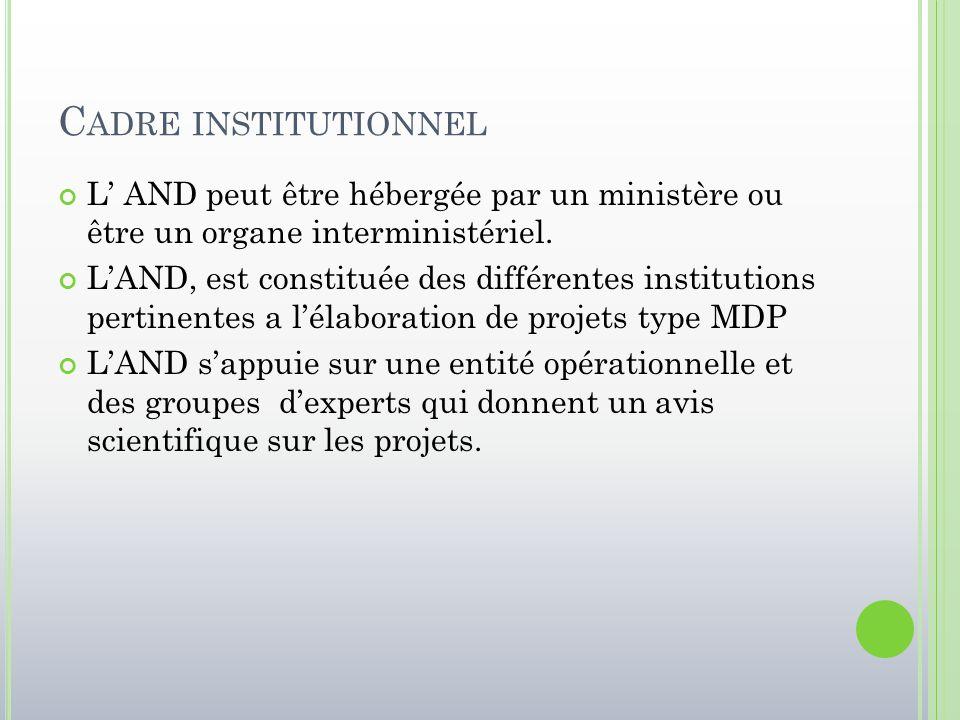 C ADRE INSTITUTIONNEL L' AND peut être hébergée par un ministère ou être un organe interministériel. L'AND, est constituée des différentes institution