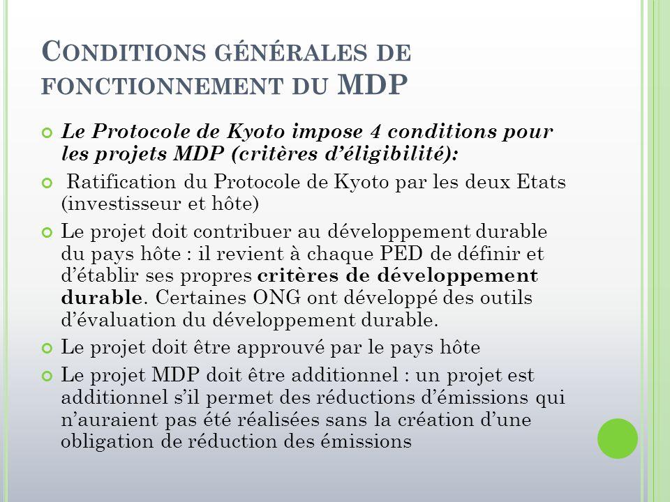 C ONDITIONS GÉNÉRALES DE FONCTIONNEMENT DU MDP Le Protocole de Kyoto impose 4 conditions pour les projets MDP (critères d'éligibilité): Ratification d