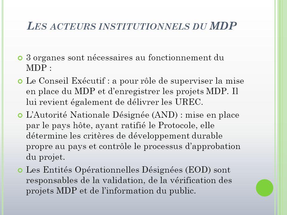 L ES ACTEURS INSTITUTIONNELS DU MDP 3 organes sont nécessaires au fonctionnement du MDP : Le Conseil Exécutif : a pour rôle de superviser la mise en p