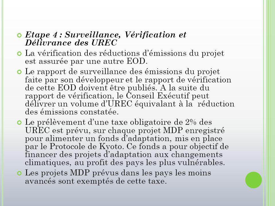 Etape 4 : Surveillance, Vérification et Délivrance des UREC La vérification des réductions d'émissions du projet est assurée par une autre EOD. Le rap