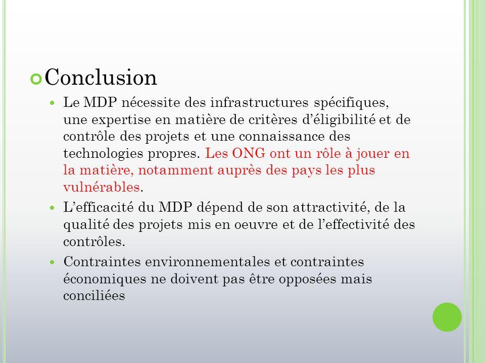 Conclusion Le MDP nécessite des infrastructures spécifiques, une expertise en matière de critères d'éligibilité et de contrôle des projets et une conn