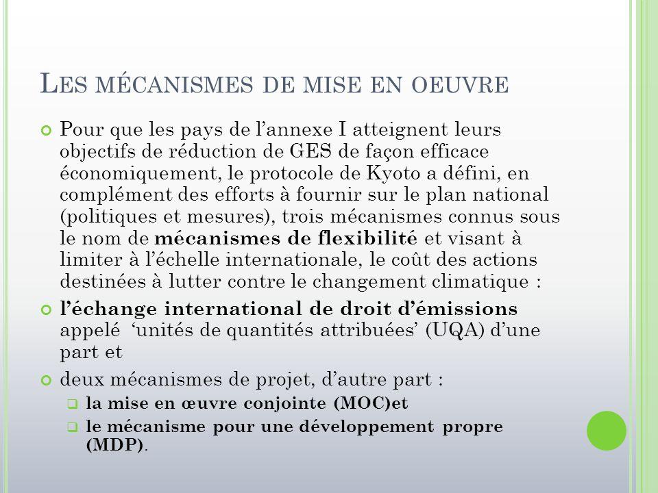 L ES MÉCANISMES DE MISE EN OEUVRE Pour que les pays de l'annexe I atteignent leurs objectifs de réduction de GES de façon efficace économiquement, le
