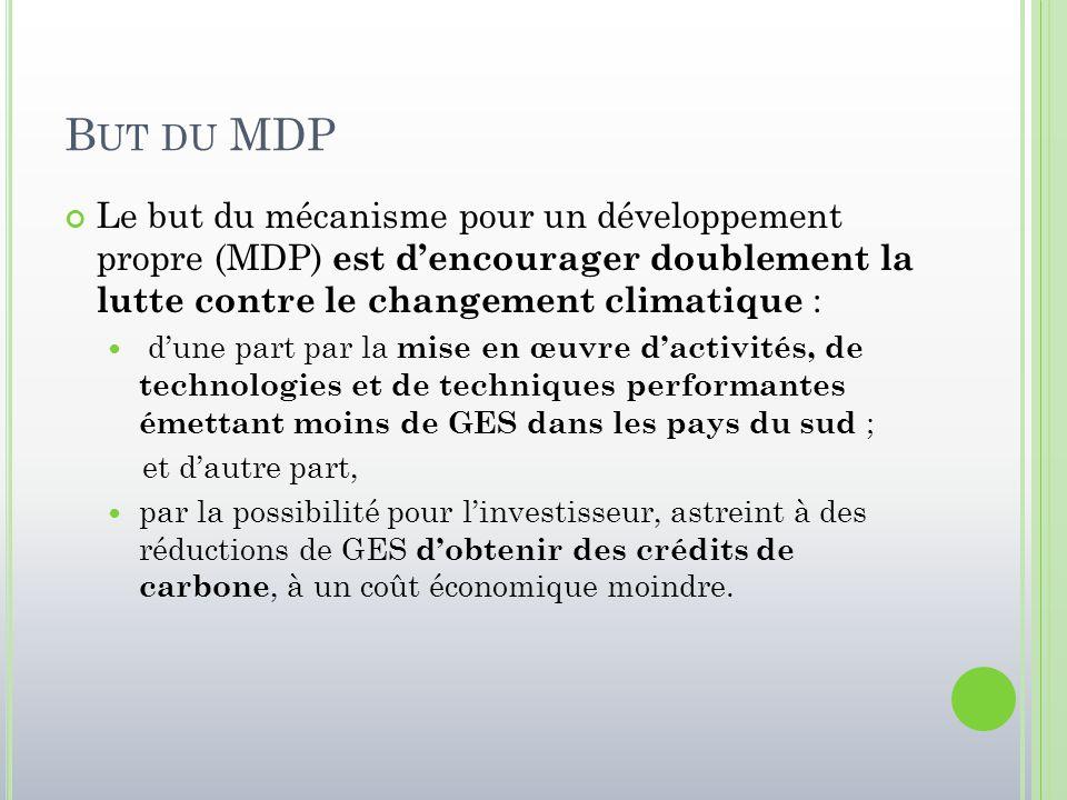 B UT DU MDP Le but du mécanisme pour un développement propre (MDP) est d'encourager doublement la lutte contre le changement climatique : d'une part p