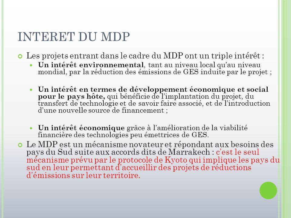 INTERET DU MDP Les projets entrant dans le cadre du MDP ont un triple intérêt : Un intérêt environnemental, tant au niveau local qu'au niveau mondial,