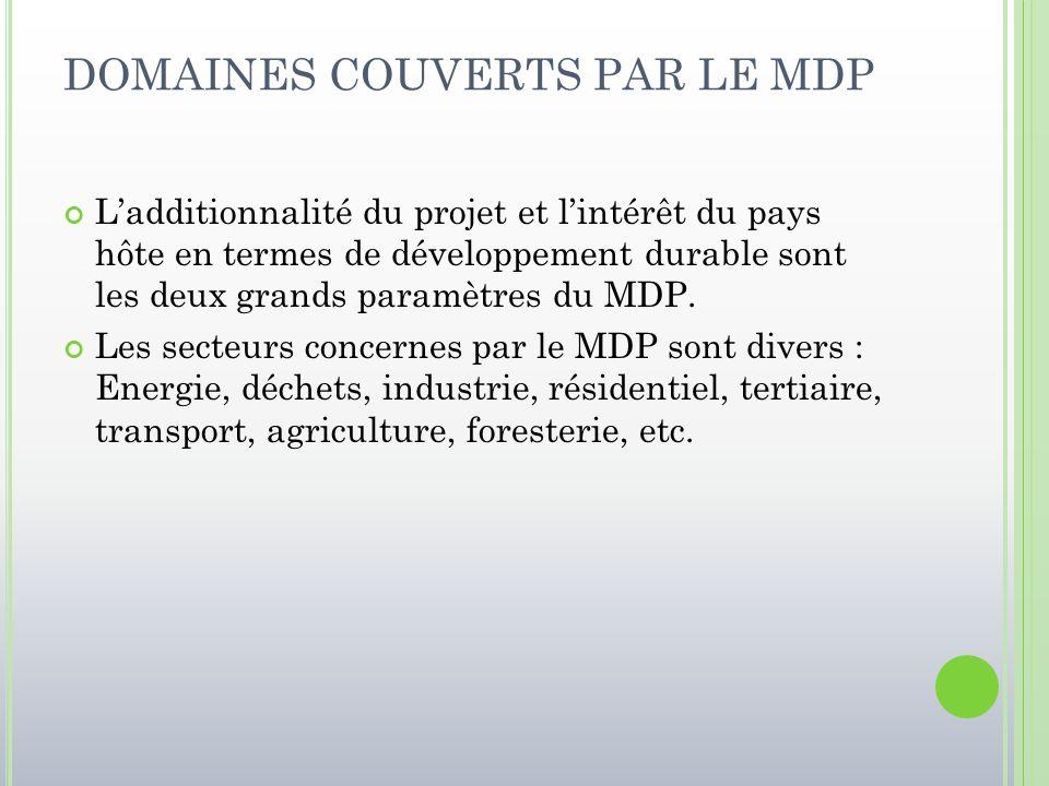 DOMAINES COUVERTS PAR LE MDP L'additionnalité du projet et l'intérêt du pays hôte en termes de développement durable sont les deux grands paramètres d