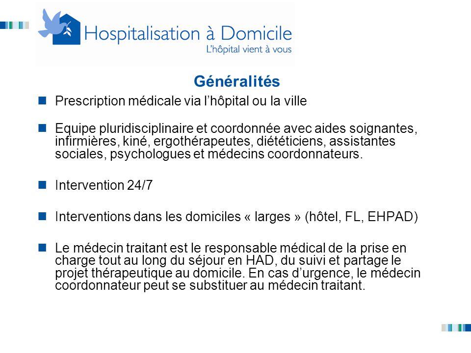 Généralités Prescription médicale via l'hôpital ou la ville Equipe pluridisciplinaire et coordonnée avec aides soignantes, infirmières, kiné, ergothér