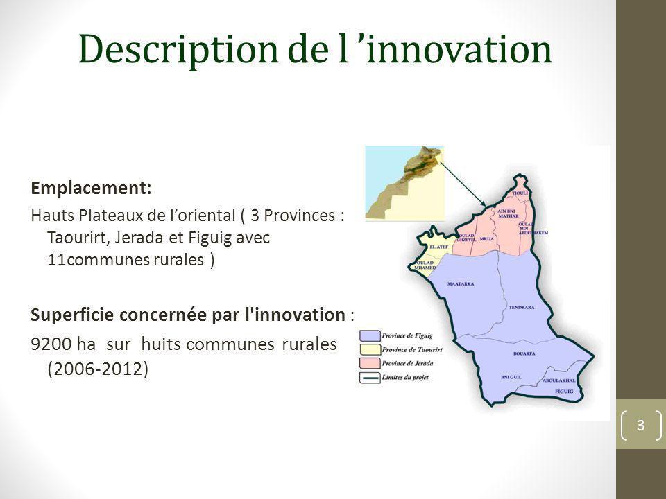 Description de l'innovation Partenaires impliqués dans l innovation: HCEFLCD,MAPM,GEF,ONUDI,coopératives pastorales Nombre de personnes touchées par l innovation: 21 coopératives pastorales (45 adhérents en moyenne par coopérative) Les investissements financiers réalisés: Réalisation de 9200 ha (140 USD /ha ) avec un coût de 1.288.000 USD Prévision au 30/6/2015 de 5800 ha avec un coût de 812.000 USD 4