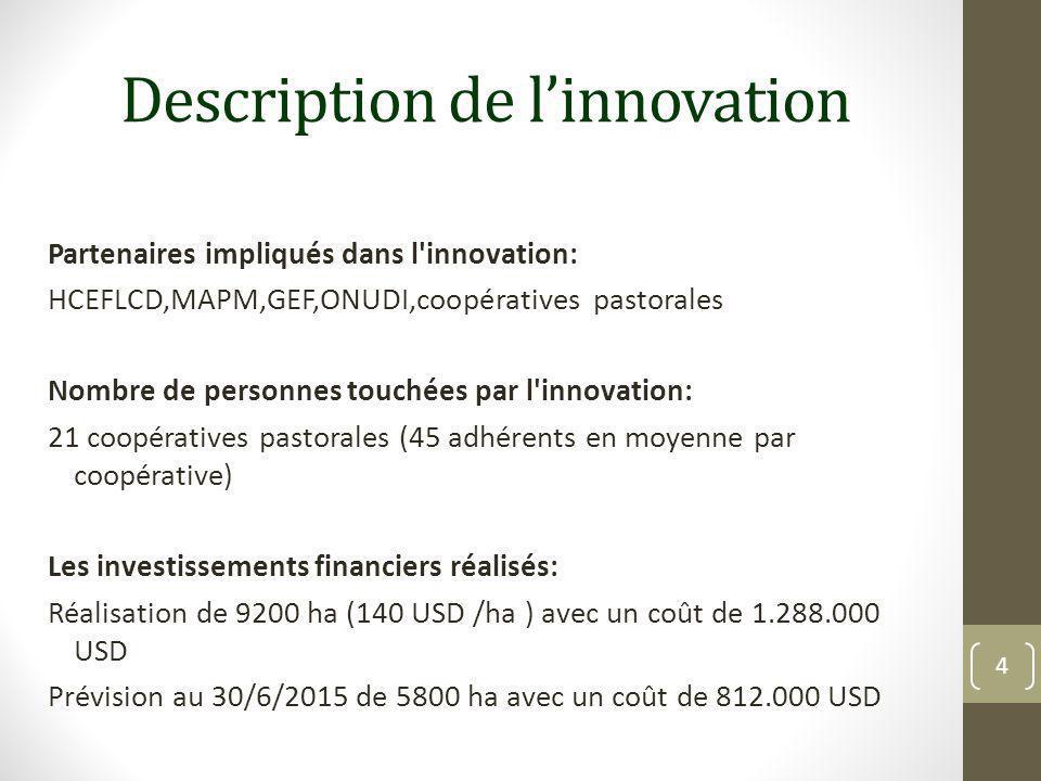Description de l'innovation Partenaires impliqués dans l'innovation: HCEFLCD,MAPM,GEF,ONUDI,coopératives pastorales Nombre de personnes touchées par l