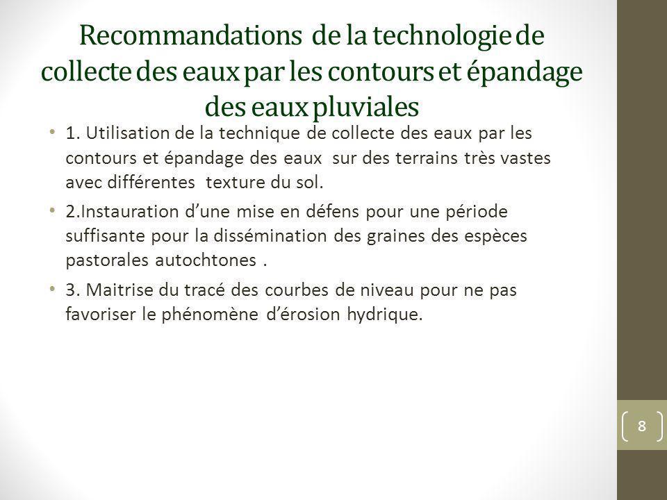 Recommandations de la technologie de collecte des eaux par les contours et épandage des eaux pluviales 1. Utilisation de la technique de collecte des