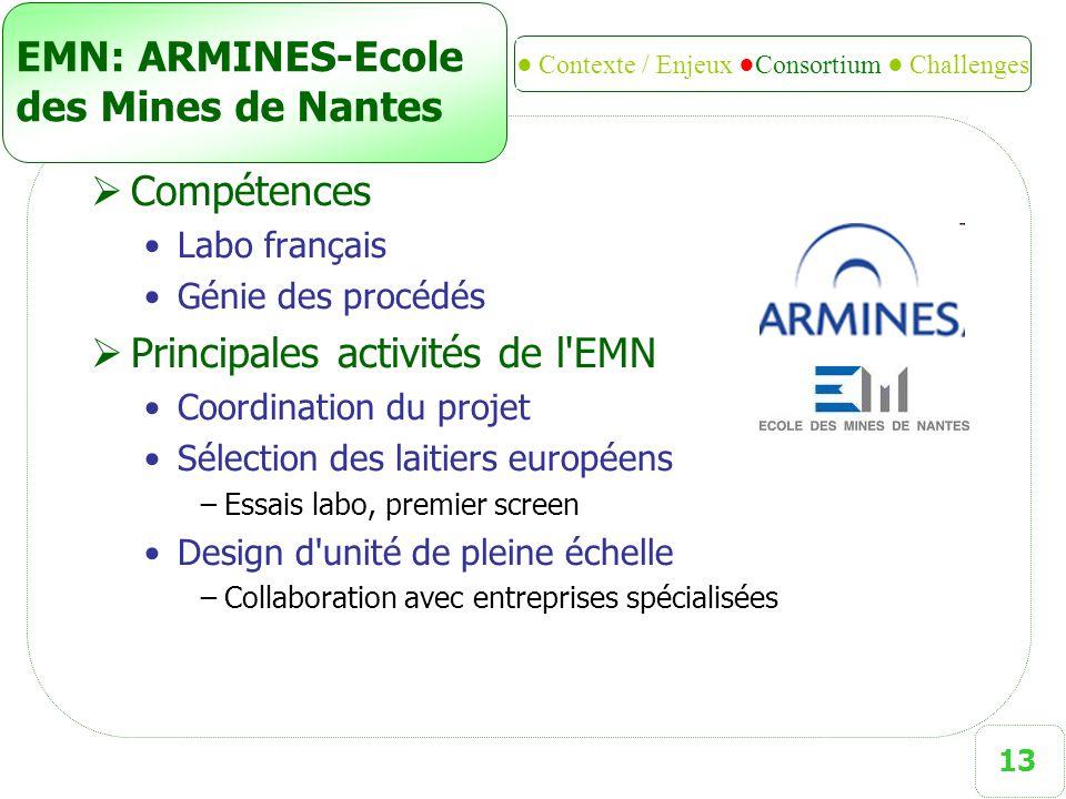 13 EMN: ARMINES-Ecole des Mines de Nantes  Compétences Labo français Génie des procédés  Principales activités de l'EMN Coordination du projet Sélec