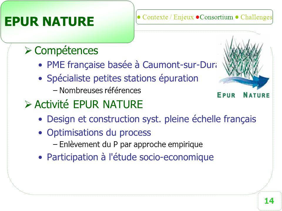 14 EPUR NATURE  Compétences PME française basée à Caumont-sur-Durance (84) Spécialiste petites stations épuration −Nombreuses références  Activité E