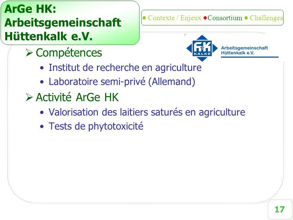 17 ArGe HK: Arbeitsgemeinschaft Hüttenkalk e.V.  Compétences Institut de recherche en agriculture Laboratoire semi-privé (Allemand)  Activité ArGe H