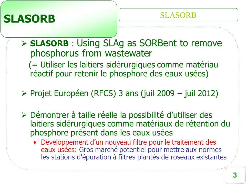 3 SLASORB  SLASORB : Using SLAg as SORBent to remove phosphorus from wastewater (= Utiliser les laitiers sidérurgiques comme matériau réactif pour re